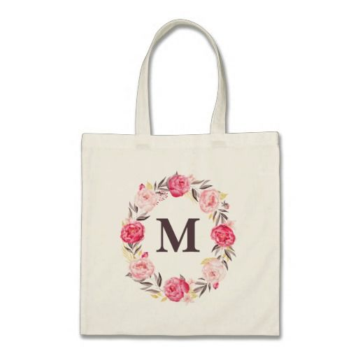Watercolor Floral Personalized Monogram Canvas Bag or you can customize your own bags for your wedding. I would depending on the theme of the wedding