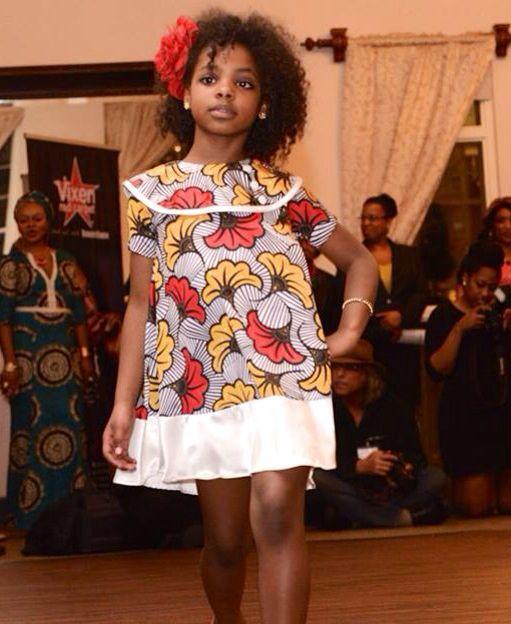 African American Fashion Show: Ankara Silk Multi Colored Flowered Girl Dress By Shells