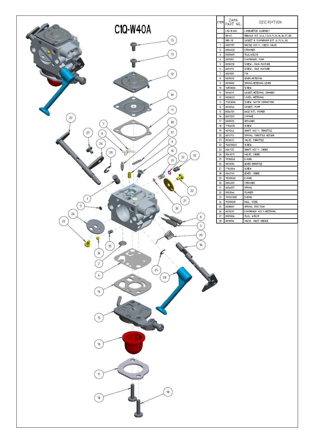 hight resolution of zama c1q w40a lawn mower repair engine repair small engine 50cc