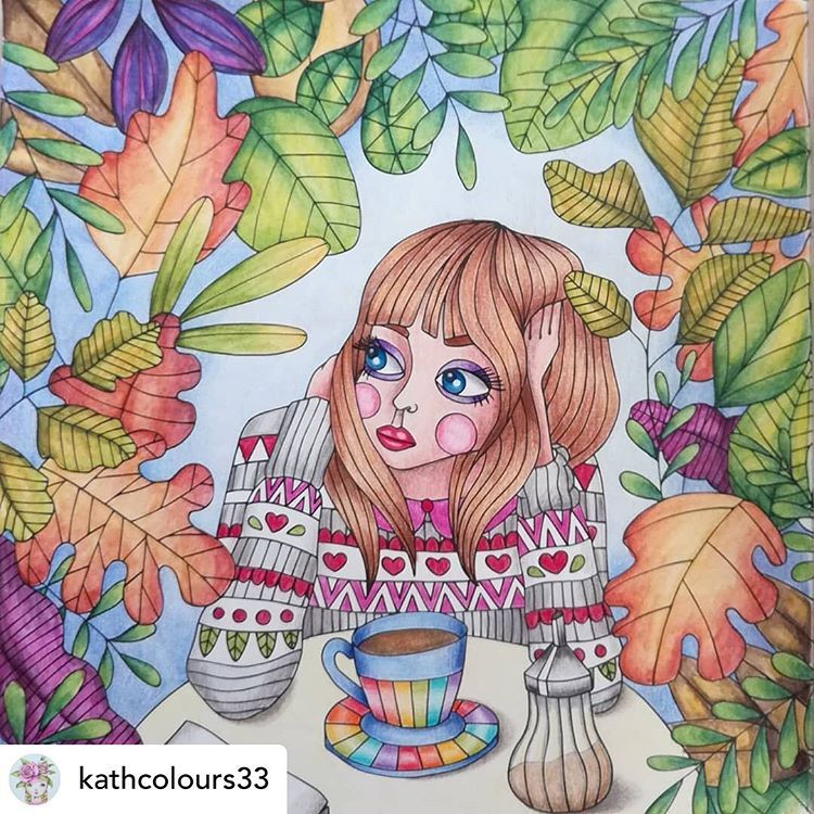 World Of Colorists On Instagram Awesome Work Posted Withrepost Kathcolours33 Morning Coffee From Fairytalesc Coloring Books Fairy Tales Colourist