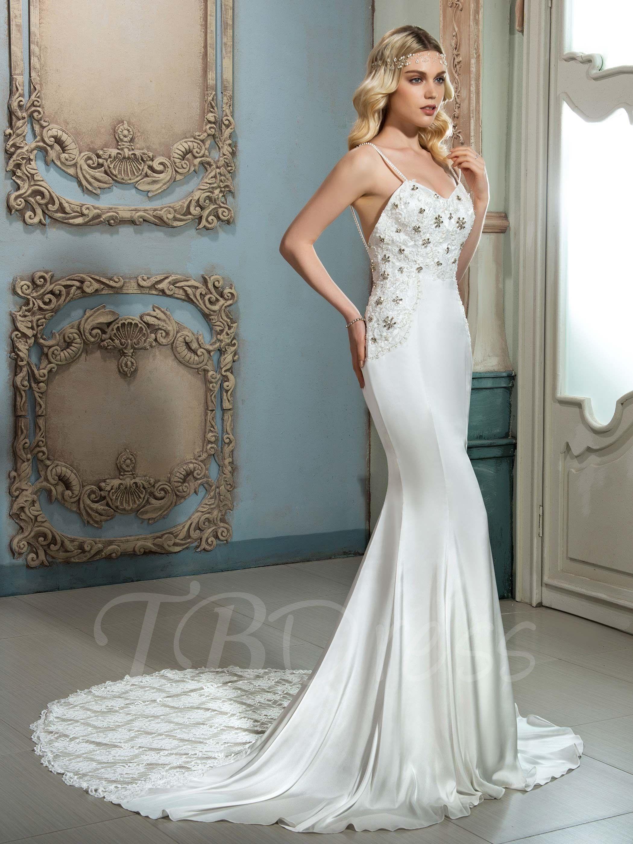 Spaghetti strap lace beading court train mermaid wedding dress