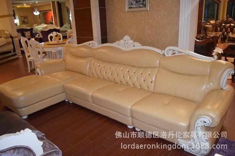 europäische ledersofa Größe Familie Ecke kombination massivholz sofa Wohnzimmer gehobenen hotellobby sofa(China (Mainland))