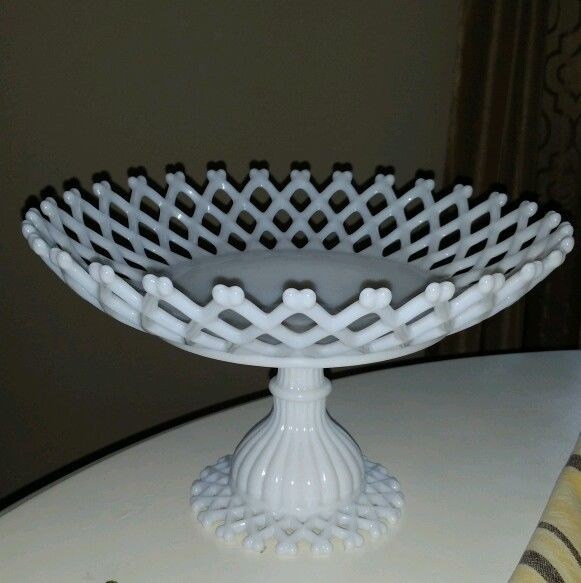 Westmoreland milk glass footed compote centerpiece bowl