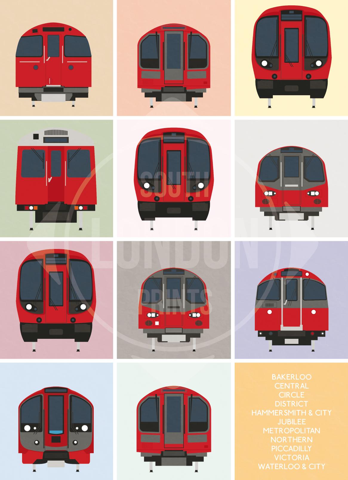 London Underground Tube Trains Print In 2019 London