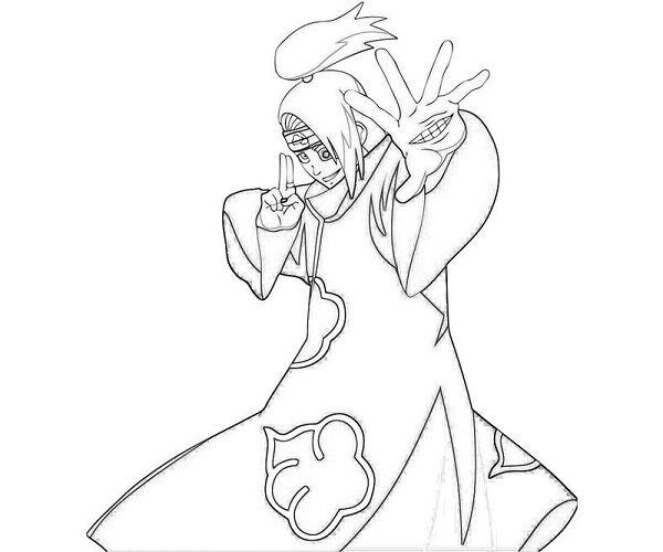 Naruto Coloring Pages Deidara Coloring Pages Color Deidara Akatsuki