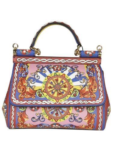 Dolce & Gabbana Small 6003 Miss Sicily Multicolor Teatro Dei Pupi Leather Shoulder Inside