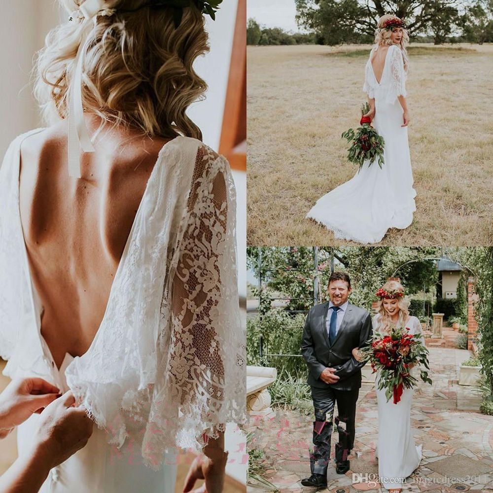 new spring bohemian lace v neck wedding dress bridal gown