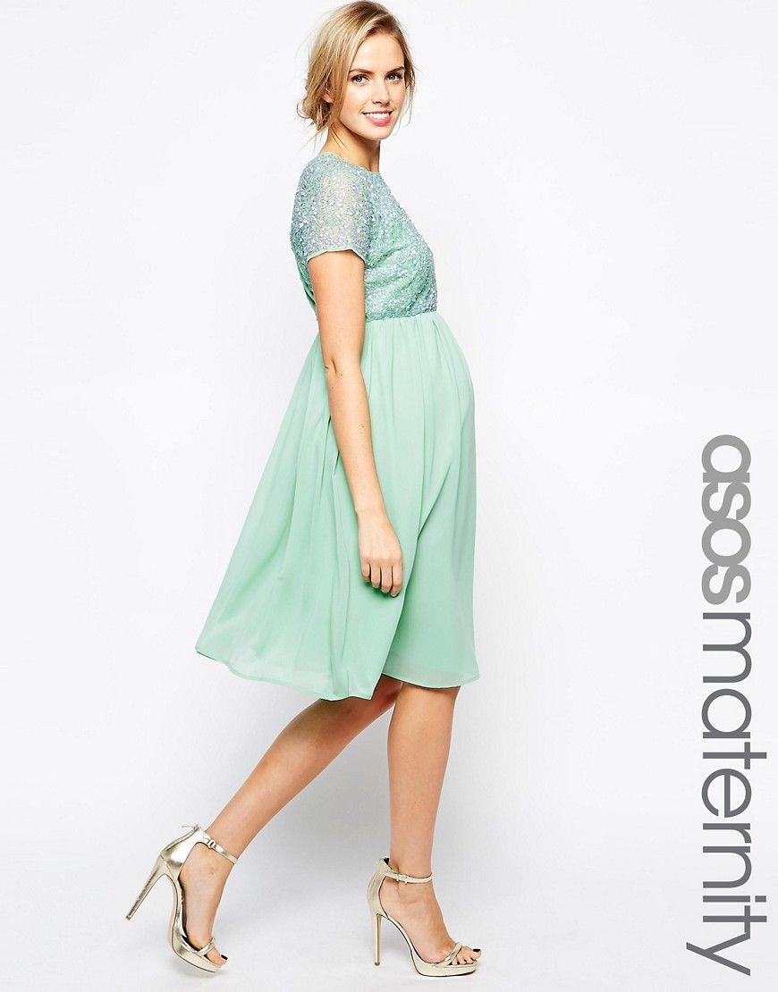 75c073a08fb3a Image 1 of ASOS Maternity Exclusive Embellished Midi Dress Green Maternity  Dresses, Maternity Dresses For