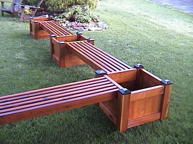 Image From Http Www Cedarpicnictables Com Images Planter Bench3 Jpg Deck Planters Large Backyard Landscaping Planter Bench