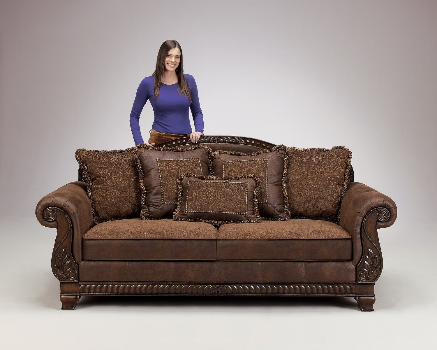 Truffle traditional sofa set old world couch wood trim cozy ...