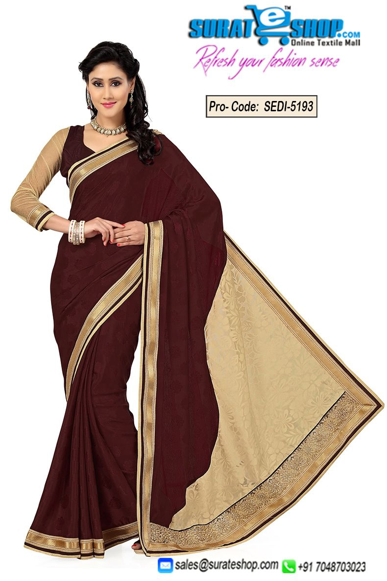 Style And Design And Trend Will Be On The Peak Of Your Splendor After You Attire This Beige & Saddle Brown Brasso, Crepe Silk, Jacquard, Tissue Saree. The Incredible Attire Creates A Dramatic Canvas With Remarkable Bugle Beads Cutdana, Lace, Self Work. Paired With A Matching Blouse  Visit : http://surateshop.com/product-details.php?cid=2_26_36&pid=7481&mid=0