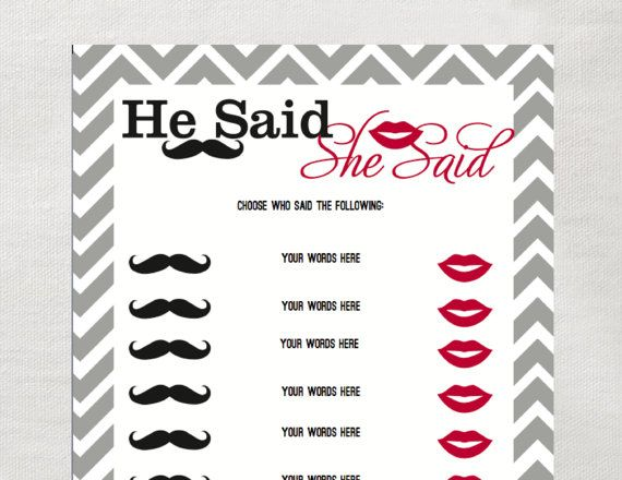 INSTANT He Said She Said Game  Instant Download   Bridal Shower Game   Gray  Red