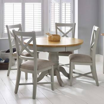 Bordeaux Painted Light Grey Round Extending Dining Table 4