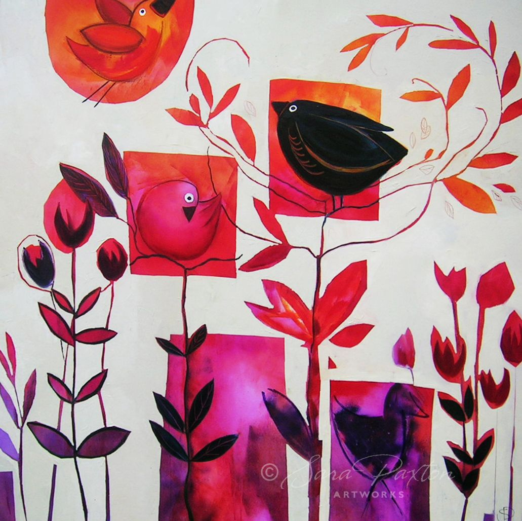 Bird and Flower painting by Sara Paxton. See more works at…