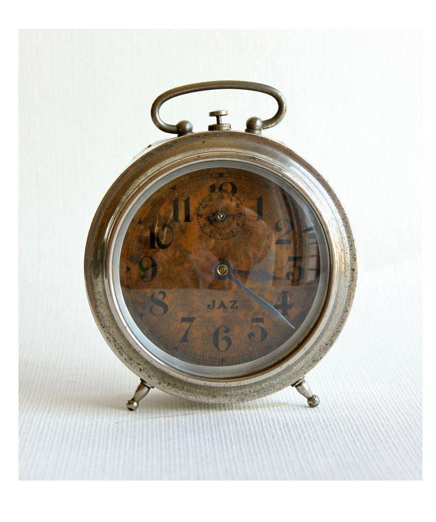 Vintage French alarm clock 1940's Jaz wind up desk clock ...