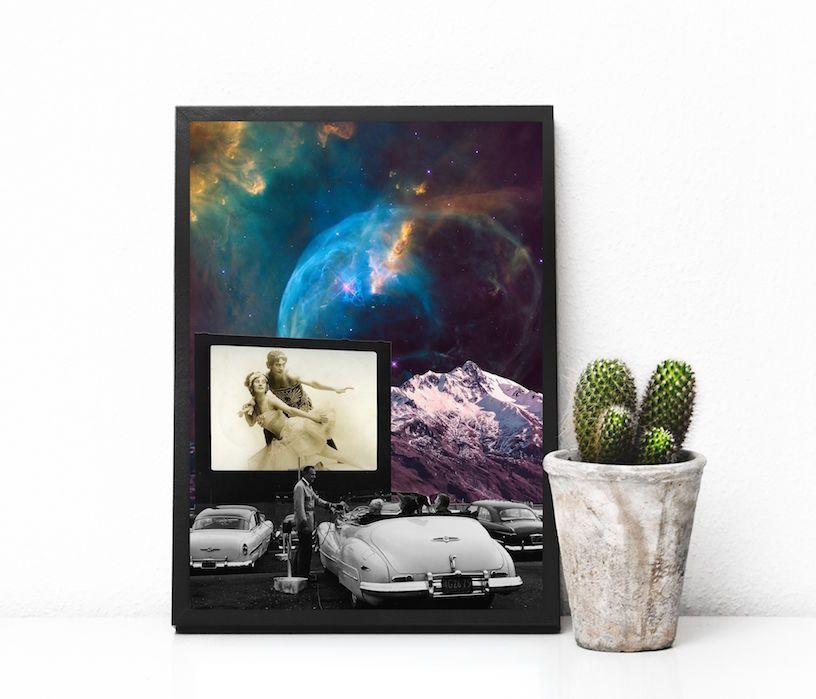 Affiche espace, affiche surréaliste - Affiche format A4 : Affiches, illustrations, posters par kiki-collagist