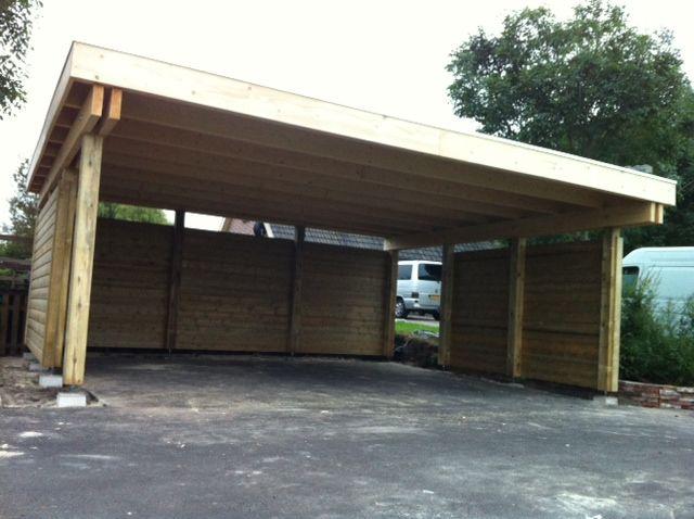 Garage Met Veranda : Stel zelf uw overkapping carport prieel of veranda met plat dak