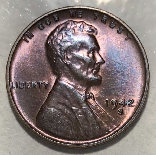 1942-S 1c Lincoln Wheat Cent Proof Like Double Purple Toning for