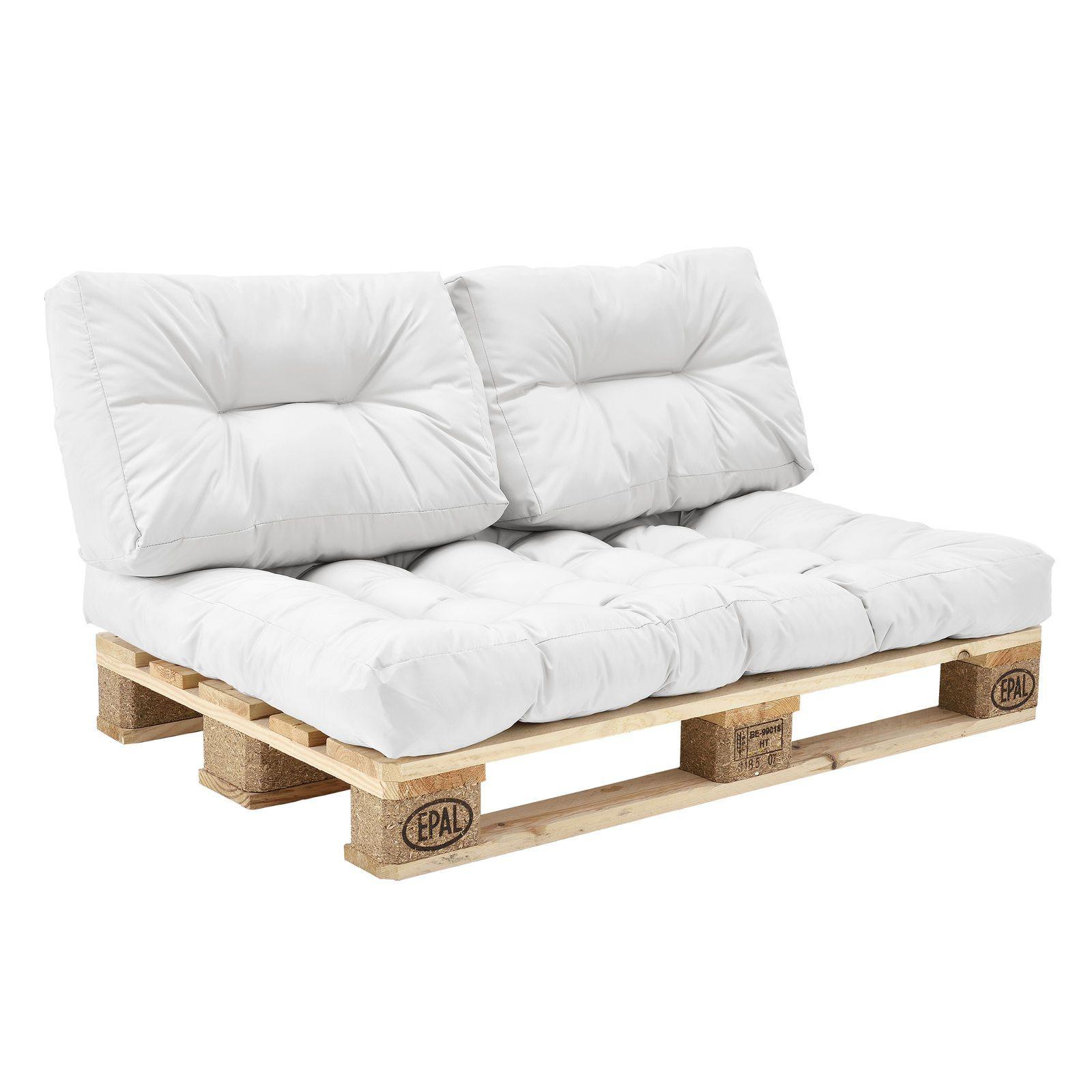 casa euro palets sof 3x asiento almohadas para la espalda blanco eur 8068 encasa euro palets sof 3x asiento almohadas para la espalda - Europalets