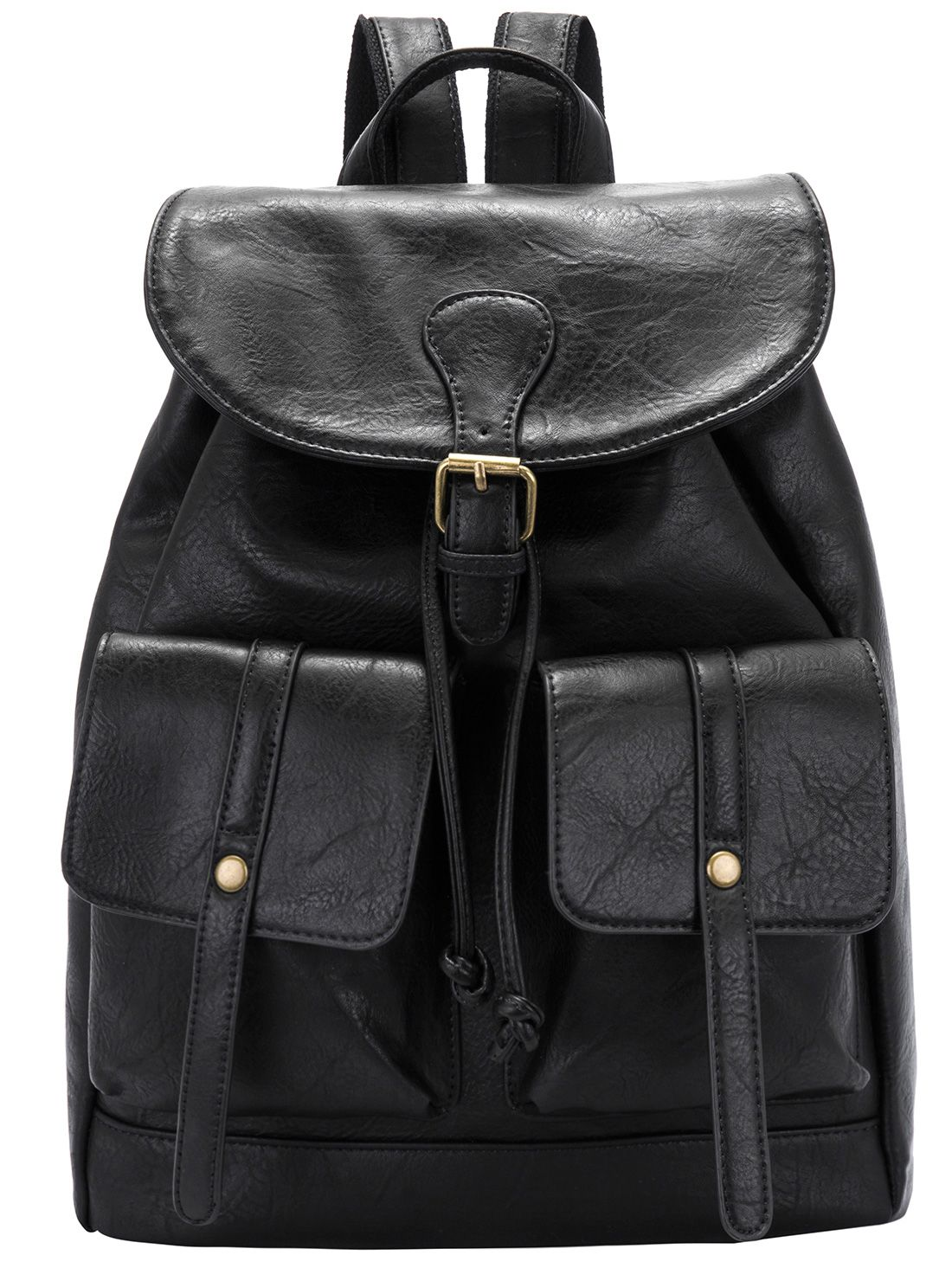 Online shopping for Black Buckle Drawstring PU Backpack from a great  selection of women s fashion clothing   more at MakeMeChic.COM. 4cba53158