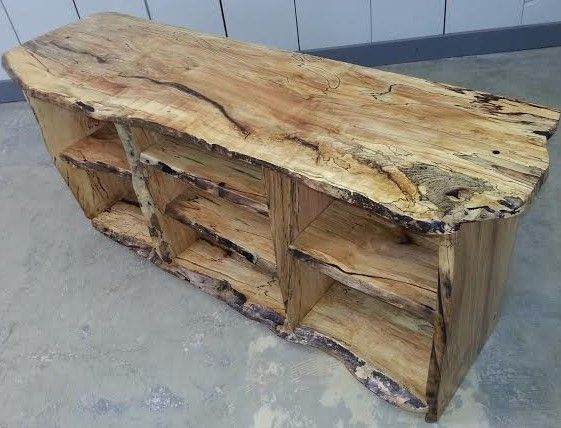 Spalted Maple Live Edge Tv Stand Rustic Log Furniture Tv Stand Wood Live Edge Furniture