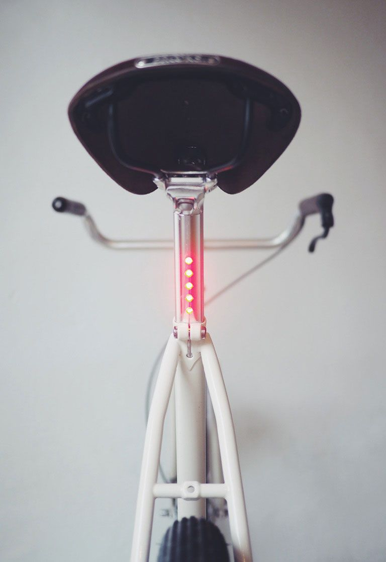 Lightskin Seatpost On Brenner Cycles Two Speed Bike Led Rucklicht