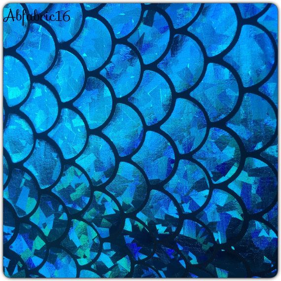 Mermaid fabric hologram fish scales stretch spandex 58 for Fish scale fabric