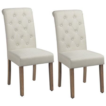 Smilemart Dining Chair, Set of 2, Beige Size: 17.9 x 24.4 x 38.8 inch(LxWxH)