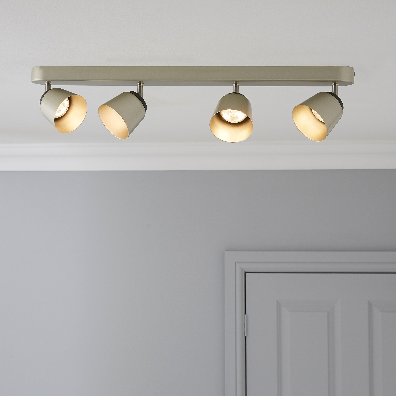 Bedroom Lights B Q: Phillips Dendor County Nickle Effect 4 Lamp Ceiling