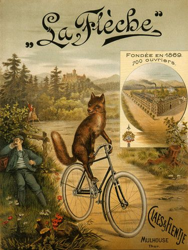 Fox Riding Bicycle Bike La Fleche Since 1869