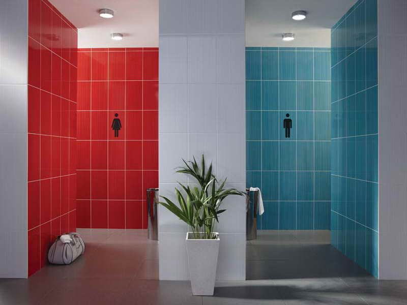 creating a stylish bathroom wall tiles design with blue and red http - Wall Tiles For Bathroom Designs