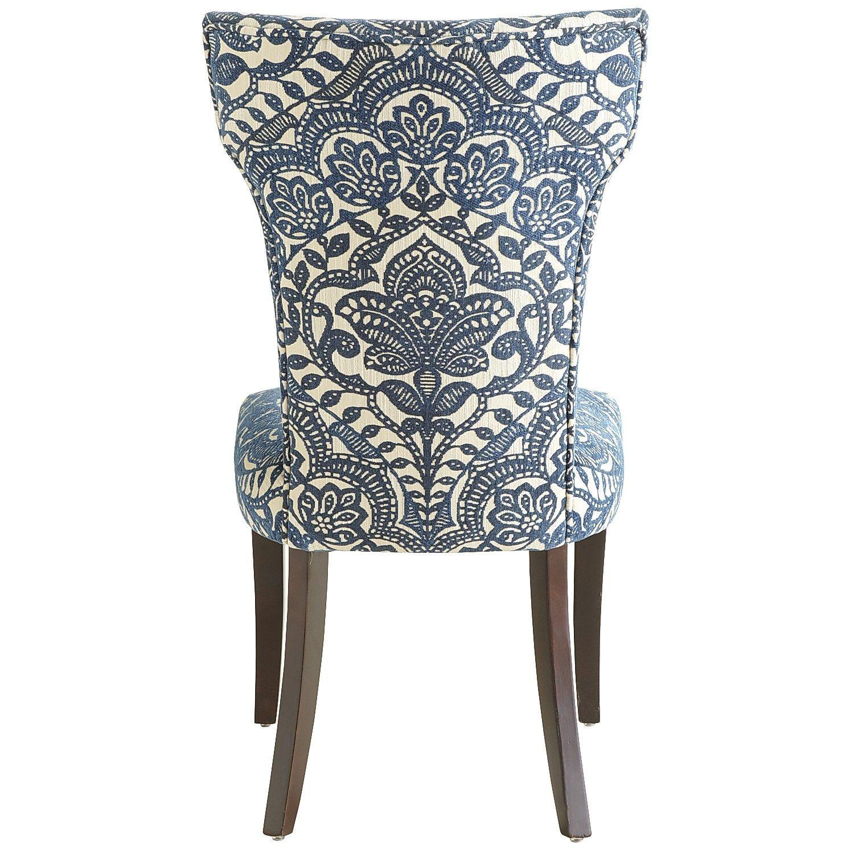 Best Carmilla Blue Damask Dining Chair With Espresso Wood 400 x 300