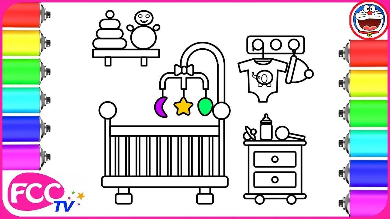 Baby Sleeping Room Coloring Page How To Draw For Kids Coloring