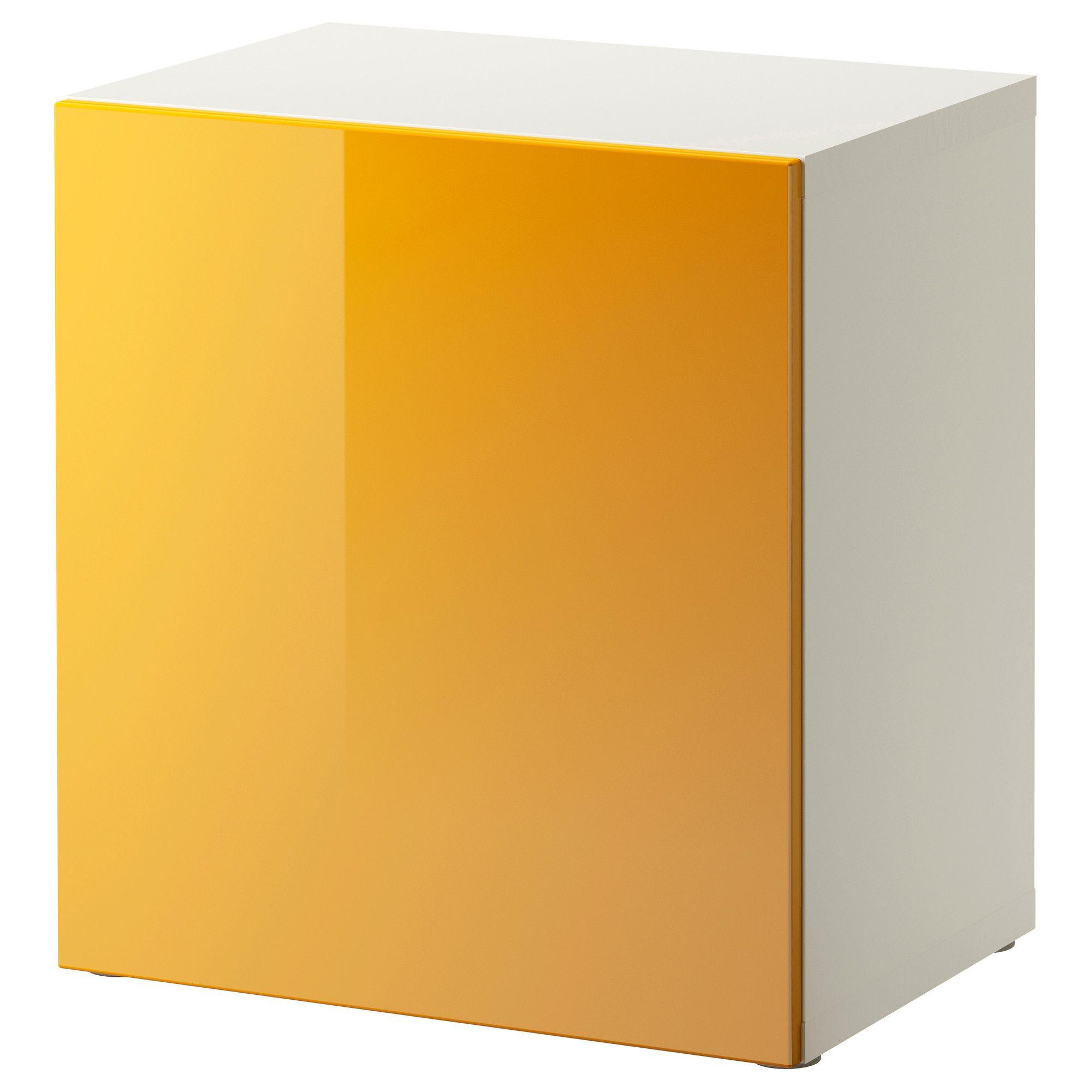 Best Estante Con Puerta Blanco Tofta Alto Brillo Amarillo  # Mueble Taquilla Ikea