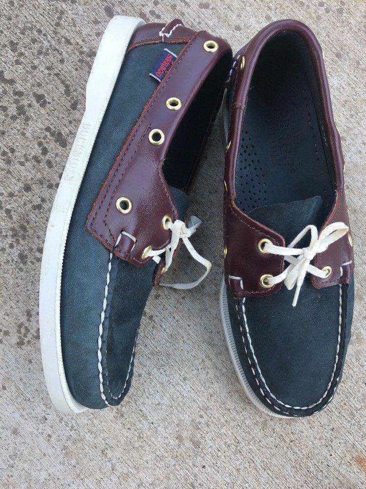 bef4ef82d Sebago Docksides Blue & Brown Leather Men's Boat Shoes Size 6W Two Eye  Loafers   eBay