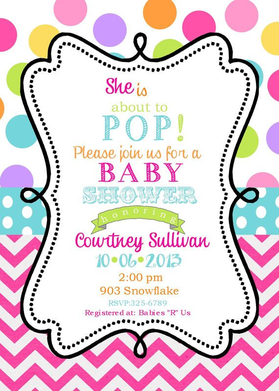 12 Baby Shower Invitations With Envelopes Ready To Pop On Free Printable Birthday Invitations Birthday Party Invitations Printable Free Birthday Invitations
