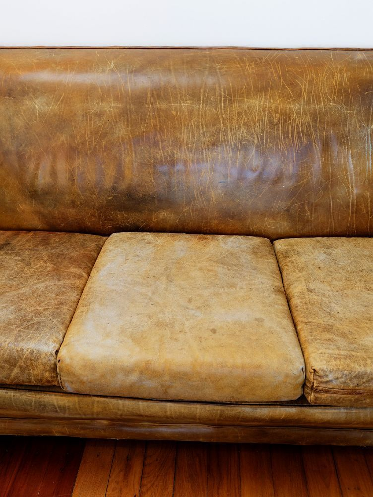 Attractive Old Leather Sofa