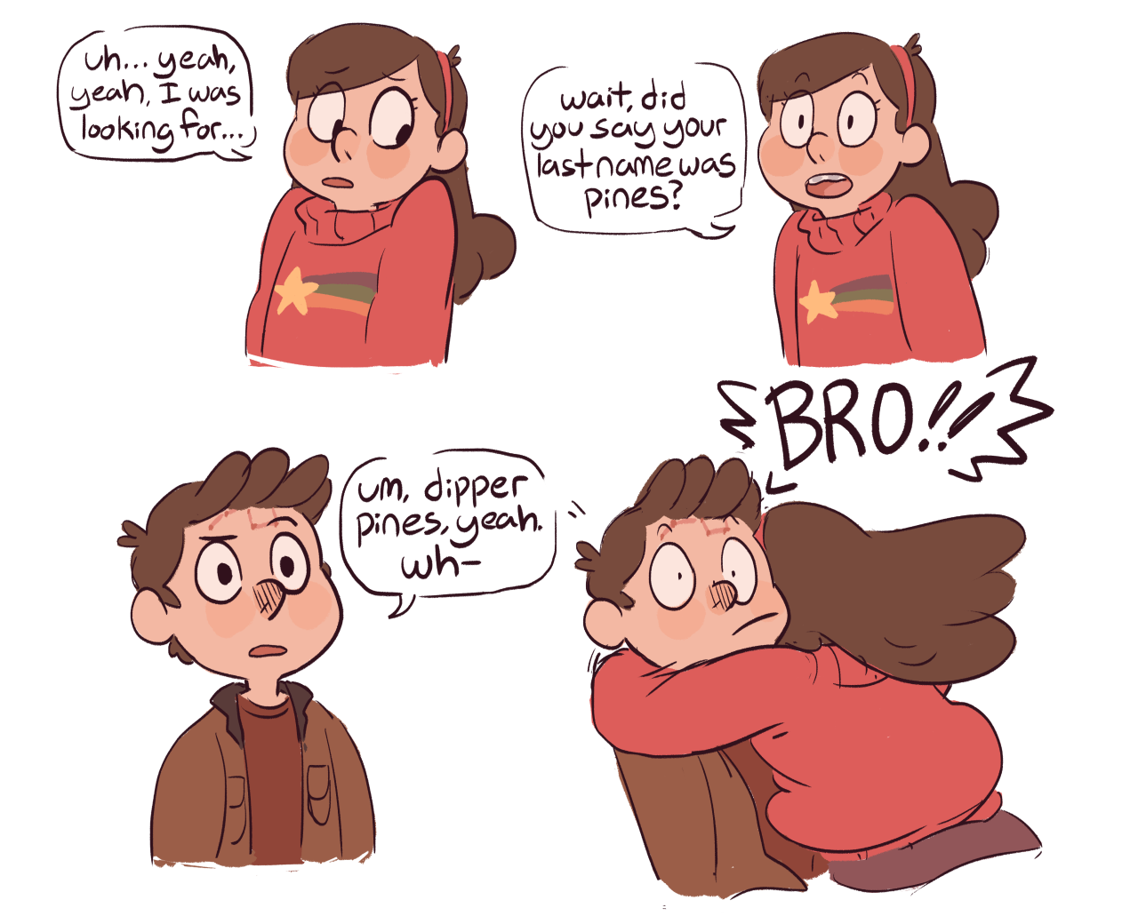 reunion falls AU 7 a gravity falls au in which mabel and dipper, for (possibly supernatural) reasons unknown, were separated at birth, and while mabel grew up as an only child in her normal home with normal parents, dipper grew up in gravity falls raised by grunkle stan. but at age 12 mabel learns of dipper's existence and decides to pay her long lost twin a surprise visit, completely unaware of the kind of wacky business going on in his hometown
