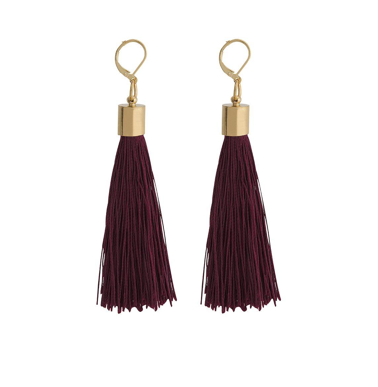 bc262cfda94f Aretes de hilos de seda en color vino. SARAFREIKA Bags.  burgundy  wine   silk  tassel  earrings  SARAFREIKA  aretes  seda