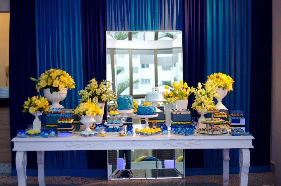 57e444f634 AzulMarinho+Amarelo Chá De Panela Azul Marinho, Toalha De Mesa Amarela, Festa  Azul