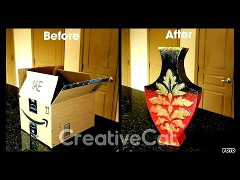 Cardboard Vase/Cardboard upcycling idea/Best out of waste - YouTube