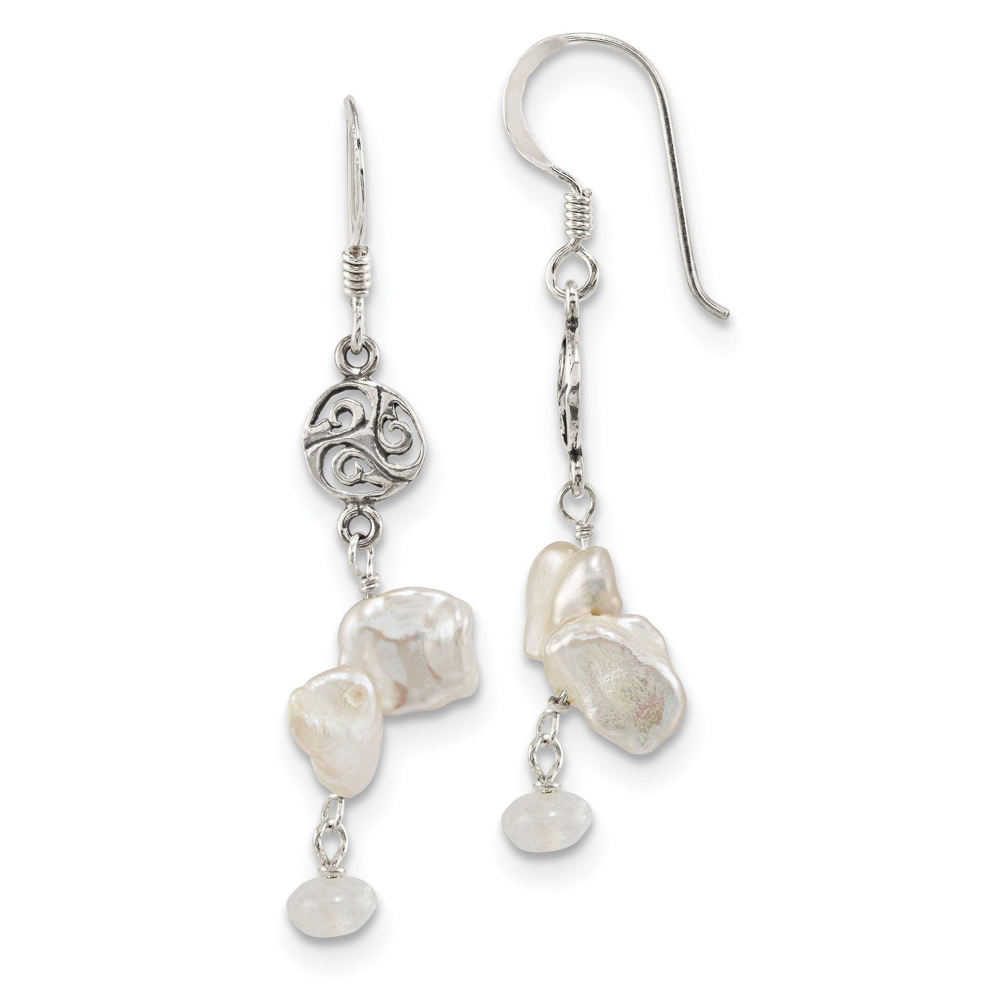 Sterling Silver FWC Keshi Pearl & Moonstone Fancy Shep. Hook Earrings