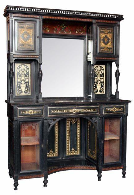 Antique Ebonized Aesthetic Inlaid Side Cabinet Ca 1880 Wooden Nickel Antiques Cincinnati Ohio