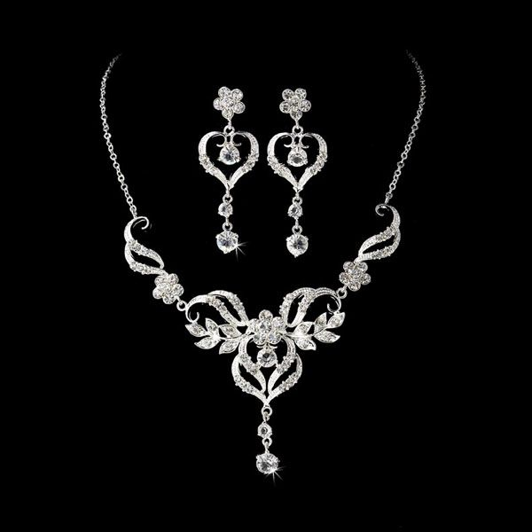 Our Silver Crystal Wedding Bridal Jewelry Set Is The True Definition Of Modern Romance 3 Piece Includes A Tone Necklace And Matching Earrings