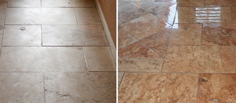 Isn't this a beautiful before and after? Refinishing your natural stone is a great investment. Why replace when you can restore to its previous glory for a fraction of the cost.