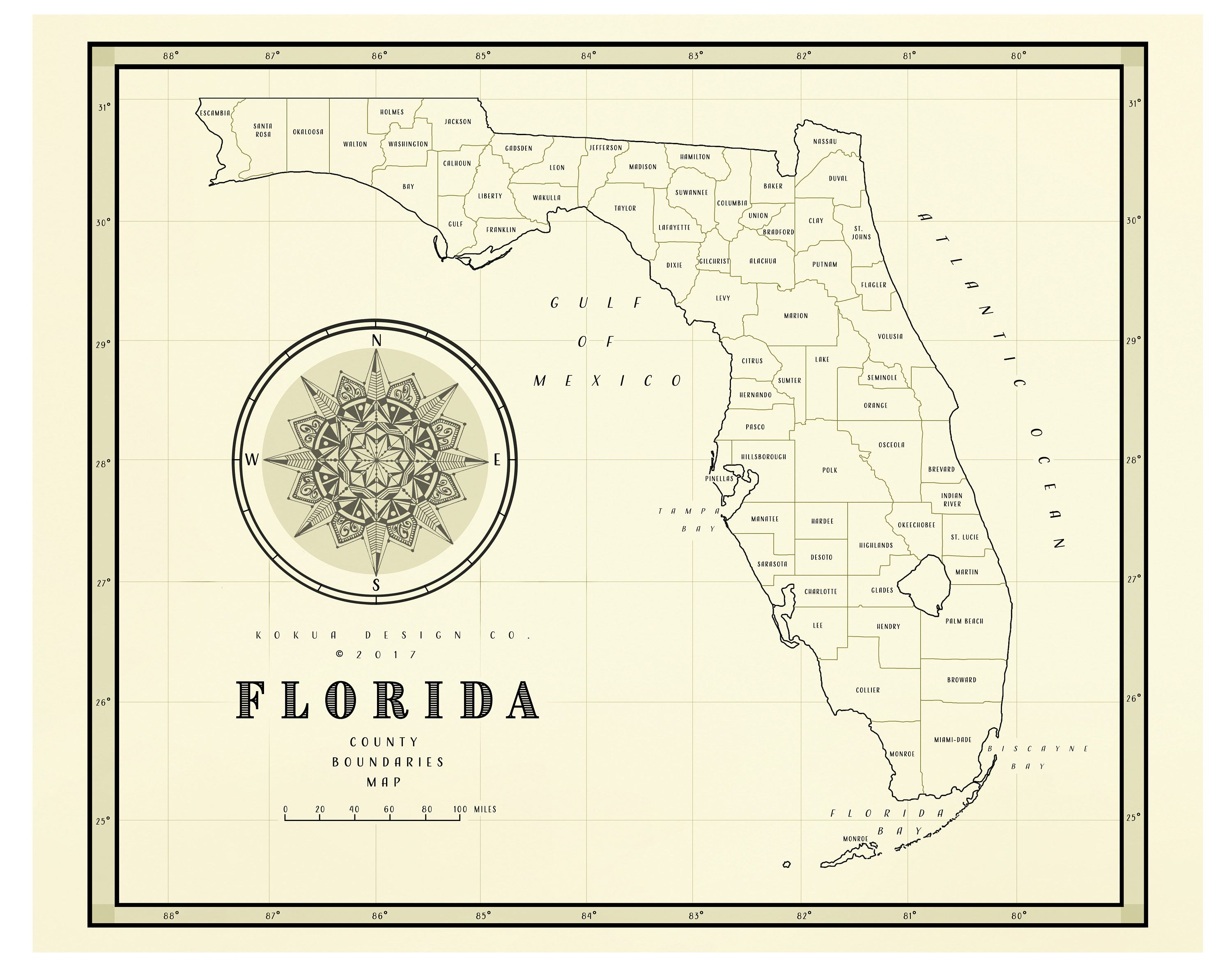 etsy vintage florida map