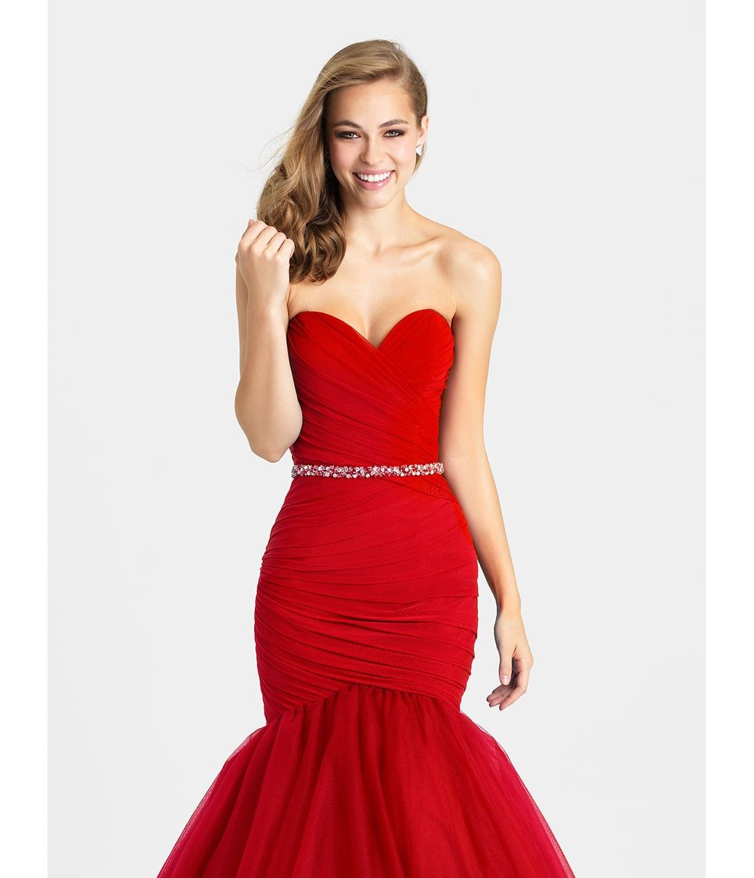 Red strapless wrap mermaid long dress prom pinterest long