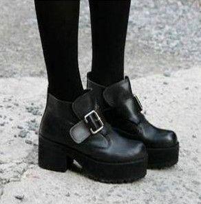 Details about Womens Rock Block Heels Thick Sole Platform Round ...
