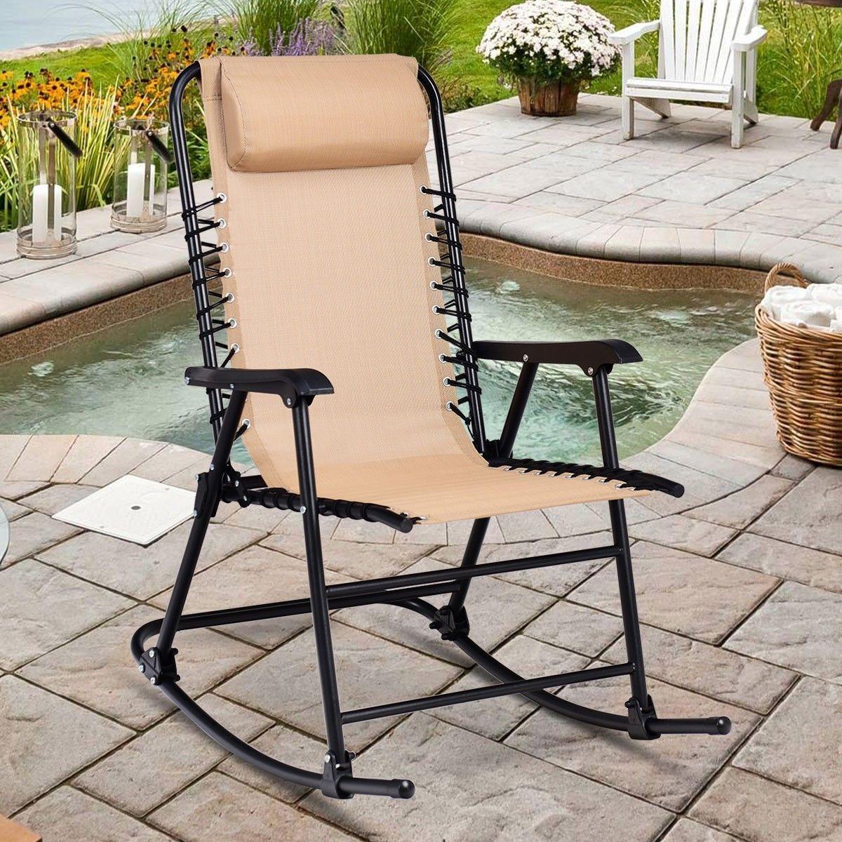 Sedie A Dondolo Per Terrazzo sedia a dondolo è realizzato in ferro e tessuto di alta