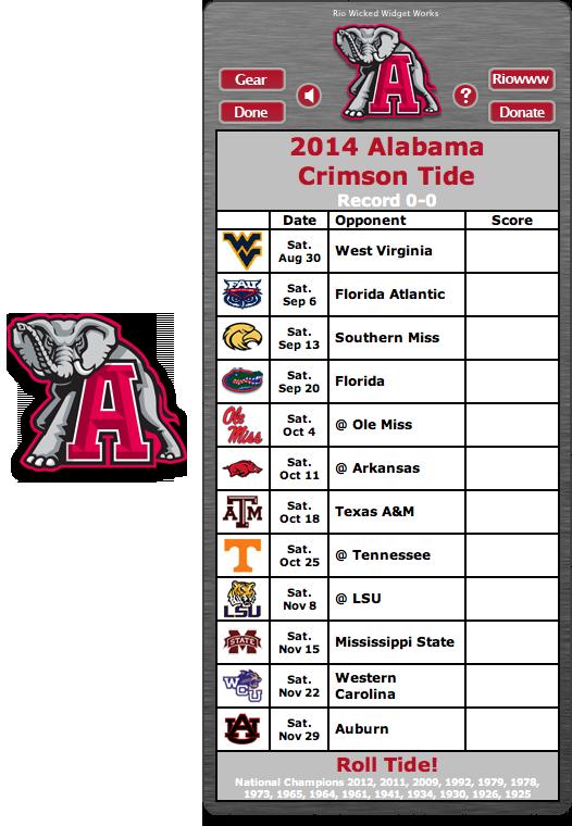 2014 Alabama Crimson Tide Football Schedule Widget Alabama Crimson Tide Alabama Crimson Tide Schedule Alabama Roll Tide